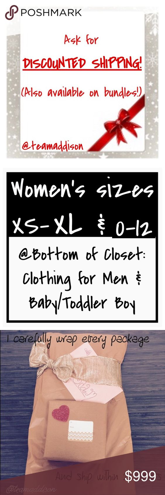 """Ask for DISCOUNTED shipping: valid thru Sun 11 Dec 📦 Same day shipping (excluding Sun/holidays or orders placed after P.O. Closed) ❓Please ask any questions prior to buying. I want you to be 💯% Happy❣  Closet clear out is back! Now through Sunday 11 December ask for discounted shipping! Simply comment on any listing or listings that You're interest in purchasing. I will create a new listing just for you priced high at like $999. Then you """"like"""" the item and when I drop the price it…"""