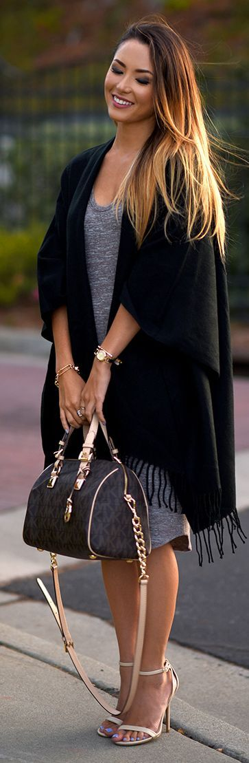 Black Fringed Cardi Fall Inspo by Hapa Time