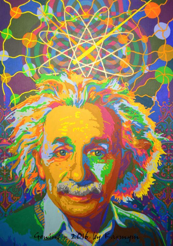 カラフルな絵の具で描かれたアルベルト・アインシュタインの壁紙・画像