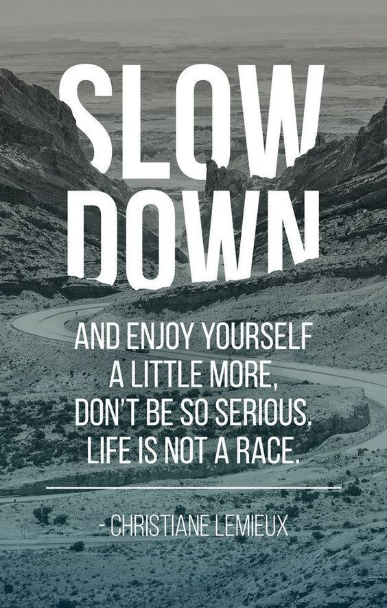 Slow down and enjoy yourself a little more. Don't be so serious. Life is not a race. -Christiane Lemieux Quote #quote #quotes: