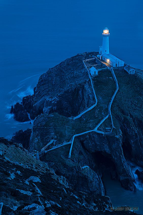 """""""South Stack Lighthouse at Dusk"""" by Darby Sawchuk, via 500px."""
