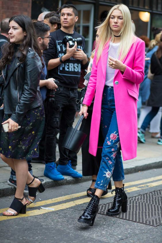 Jessica Hart in Topshop coat on the street at London Fashion Week. Photo: Chiara Marina Grioni/Fashionista.