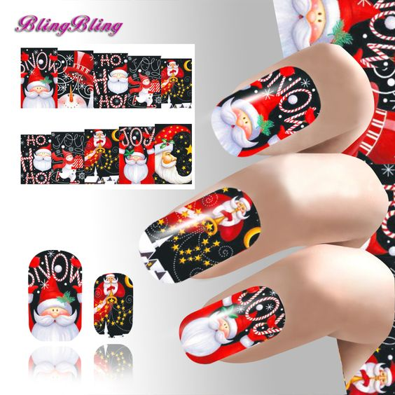 Xmas Nail Sticker Beauty Nail Art New Year Water Decals Pretty Girl Nail Wraps Decoration Party Design Style Christmas Series 24 #clothing,#shoes,#jewelry,#women,#men,#hats,#watches,#belts,#fashion,#style