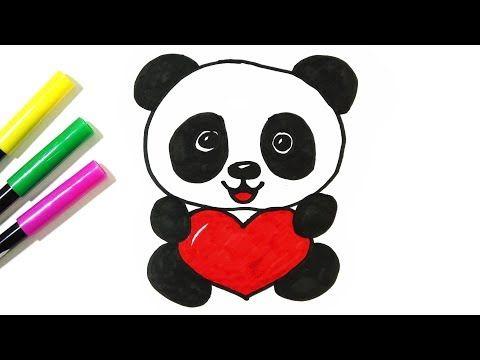 How To Draw A Cute Panda Holding A Heart Hde Youtube Cute