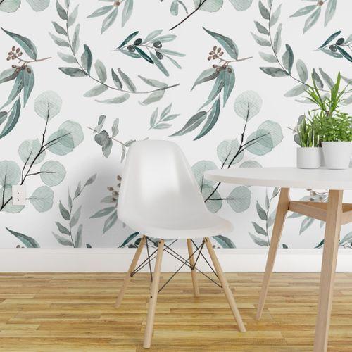 Australian Native Eucalyptus Leaves E Spoonflower Botanical Wallpaper Large Scale Wallpaper Peel And Stick Wallpaper Best peel and stick wallpaper for