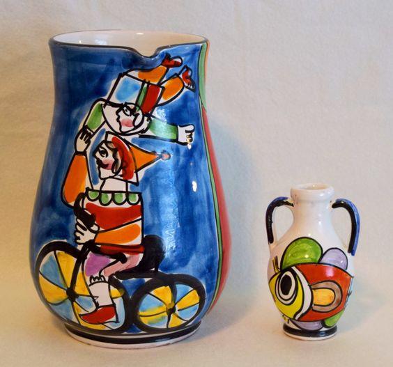 Vintage La Musa Desimone Pitcher & Tulip Vase / Rare / Hand Painted / Women's Gift Idea / Wedding Gift Idea by LoveJobie on Etsy
