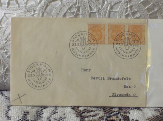 http://ajunkeeshoppe.blogspot.com/  First Day Issue / Cover - Stamp - Sweden Cancellation 1946 2o 8ozP725B4HP1137