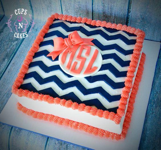 Chevron monogram cake