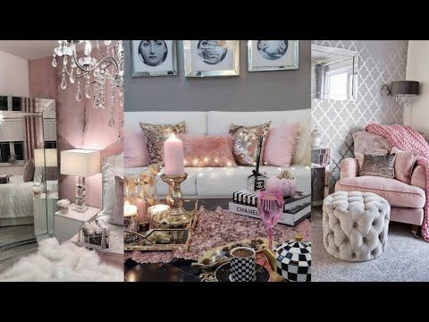 Glam Luxury Girly Pink Grey Silver Tones Bedroom Living Rooms Goals Inspirational Ideas Tour You Glam Living Room Glam Living Room Decor Girly Living Room