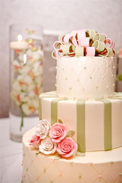 A pink and green wedding cake looks pretty at a spring or vintage themed wedding.