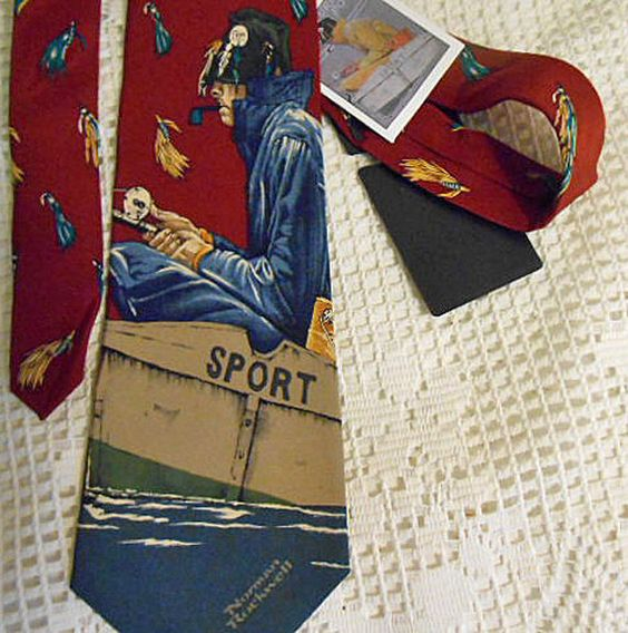 Cranberry Red FISHERMAN Silk NECKTIE Norman by AzaleaTrail on Etsy