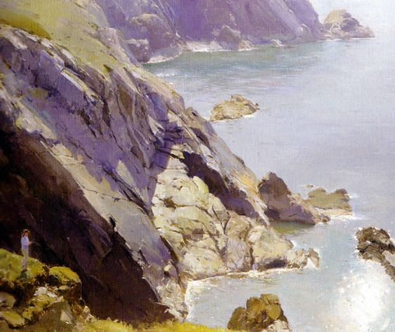 """Pembrokeshire Sea Cliffs, Port St Justinian"" by David Curtis (oil on canvas)"