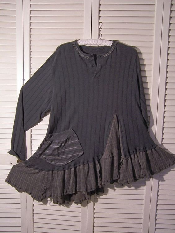 Reconstructed Long Sleeved T Shirt  Tunic  Charcoal Gray Lagenlook Asymmetrical Big Pocket: