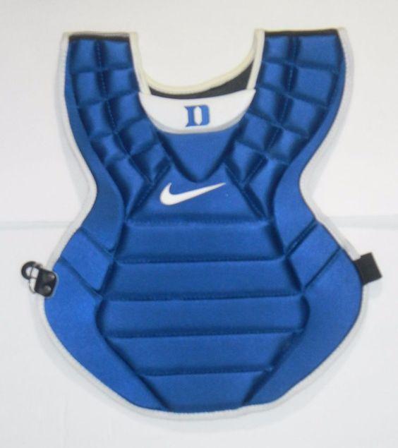"""DUKE BLUE DEVILS BASEBALL GAME ISSUED NIKE CATCHERS CHEST PROTECTOR 17"""" BLUE  #Nike $99.99"""