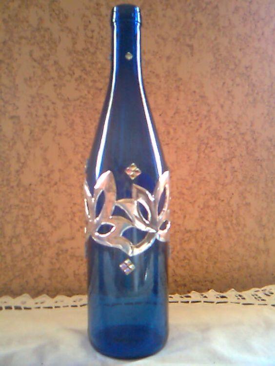 Botella de vino decorada con aluminio y piedras - Botellas de plastico decoradas ...
