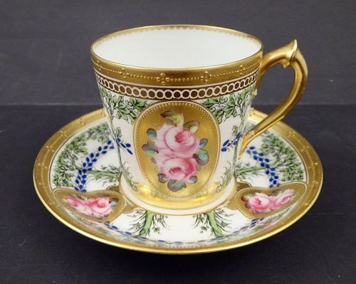 Antique Crown Derby Demitasse Cup Saucer For Tiffany Tea Cups