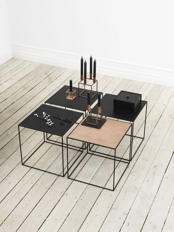 Modern and contemporary Danish and Scandinavian style Copper and Metal Side Tables.