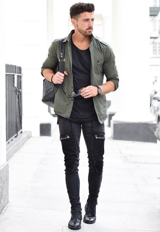 Posts men 39 s fashion and fashion on pinterest for Mens khaki shirt outfit