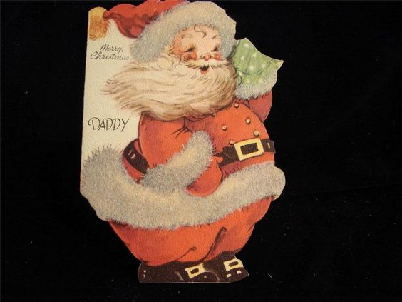 "VINTAGE ""LOTS OF LOVE DADDY!!"" CHRISTMAS GREETING CARD - 1947"