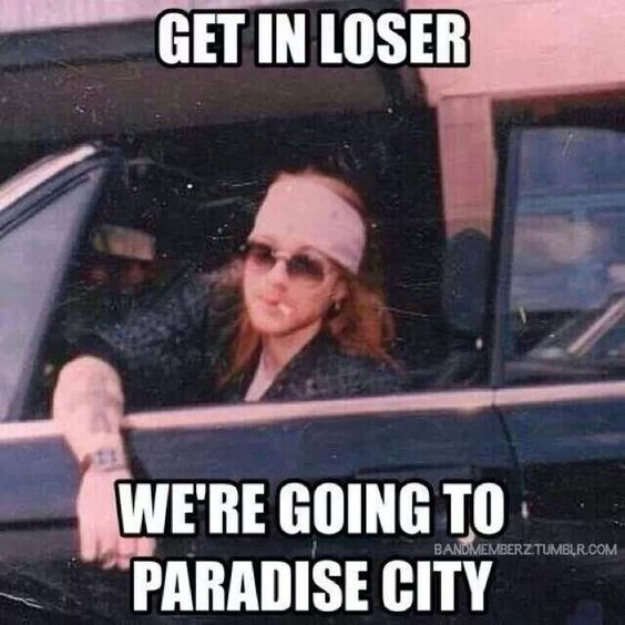 Axl meets mean girls...love it.  Let's photo shop the cigArette.