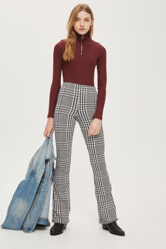 TALL Checked Jaquard Flared Trousers