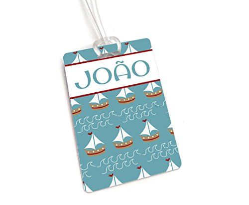Teal Blue Nautical Theme Personalizable Luggage Tag, Boys School Backpack Tag.