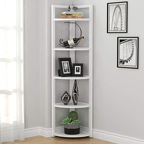 The Tribesigns 5 Tier Corner Shelf Modern Corner Storage Rack Plant Stand Small Bookshelf Living Room Home Office Kitchen Small Space White Online Shoppi In 2020 Small Bookshelf Corner Storage Corner Shelves