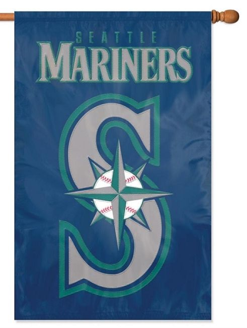 Seattle Mariners Flag 2 Sided Applique House Banner Seattle Mariners Logo Mariners Logo Mlb Team Logos