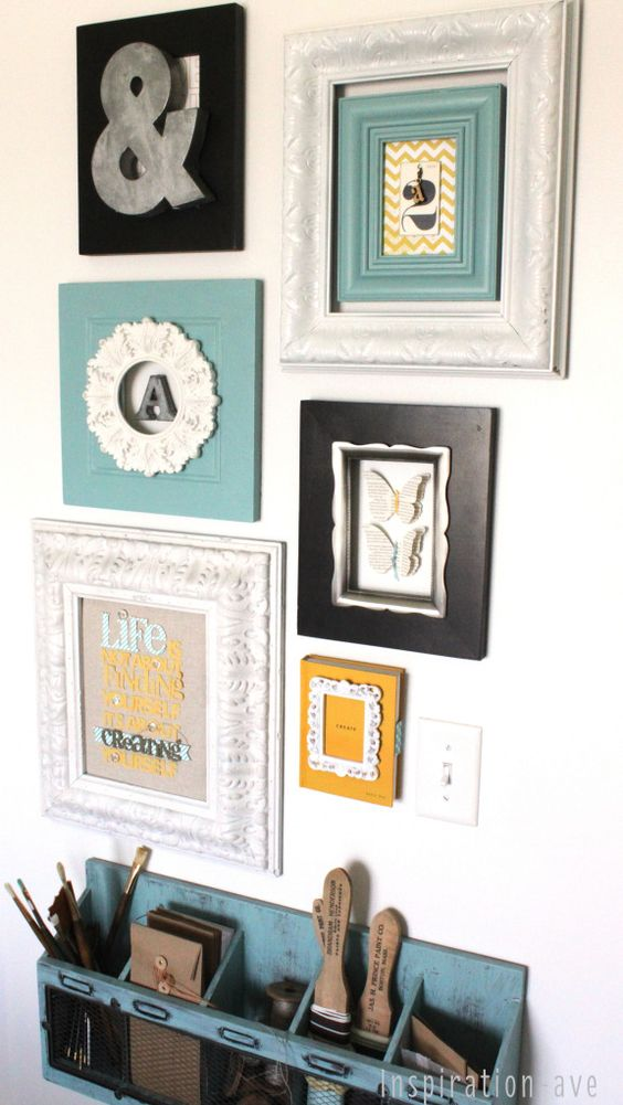 inspiration ave: Fun gallery wall of layered frames