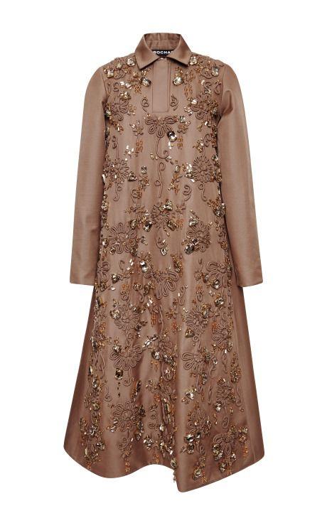Camel Embroidered Mikado Shirt Dress by Rochas - Moda Operandi