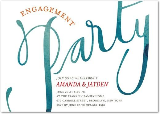 It's Party Time - Signature White Textured Engagement Party Invitations - Petite…