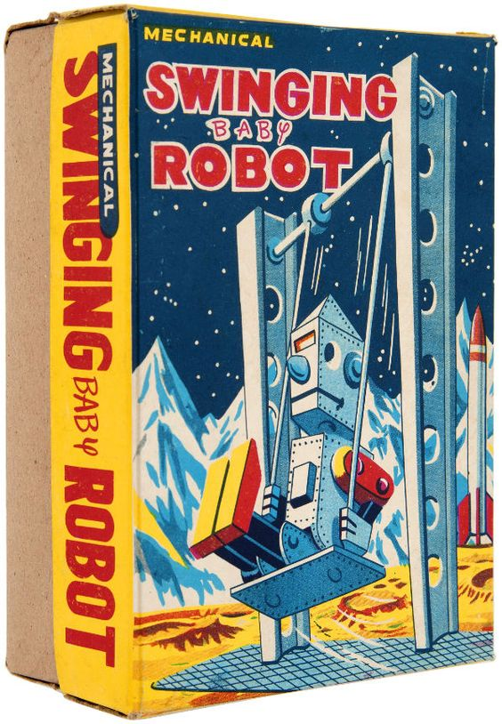 """SWINGING BABY ROBOT"" BOXED WIND-UP."