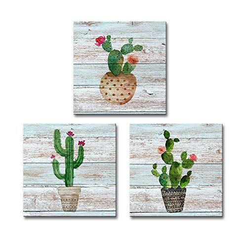 Dekhome 3 Pieces Cactus Canvas Wall Art Simple Life Watercolor Green Plants Succulent Cactus Painting Prints Wo In 2020 Cactus Wall Art Cactus Painting Canvas Wall Art