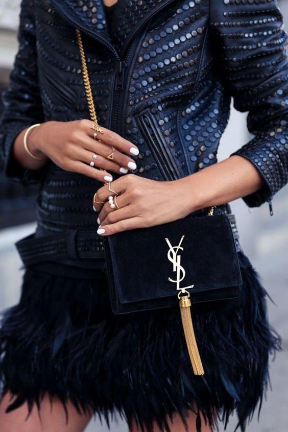 Feathers skirt + studded jacket + YSL bag