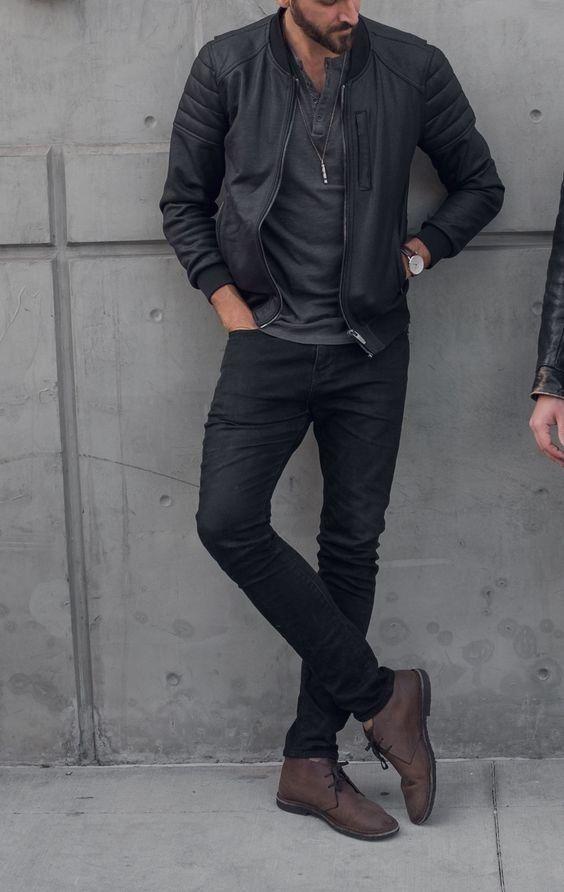 hombre tendencia ropa oscura