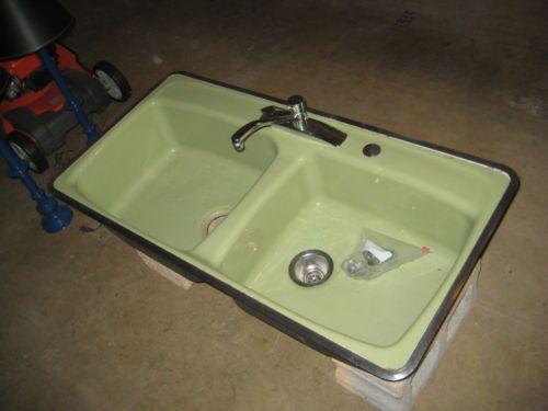 Vintage Avocado Green Kohler Hudee Ring Cast Iron Double Kitchen ...