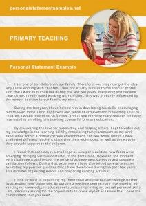 personal statement for primary teaching job