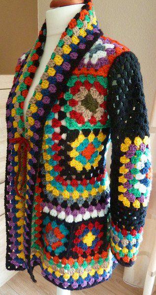 Cardigans & Strickjacken - Hippie Häkeljacke Granny Square bunt 38/40 - ein Designerstück von strickmaus bei DaWanda