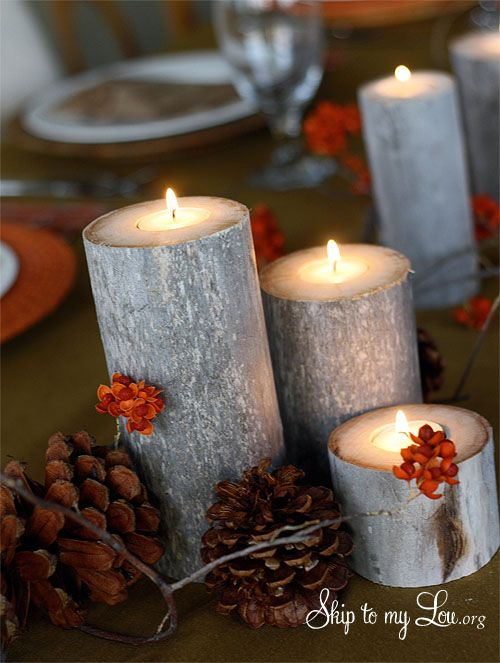 Tea lights tea light holder and logs on pinterest for Log candles diy