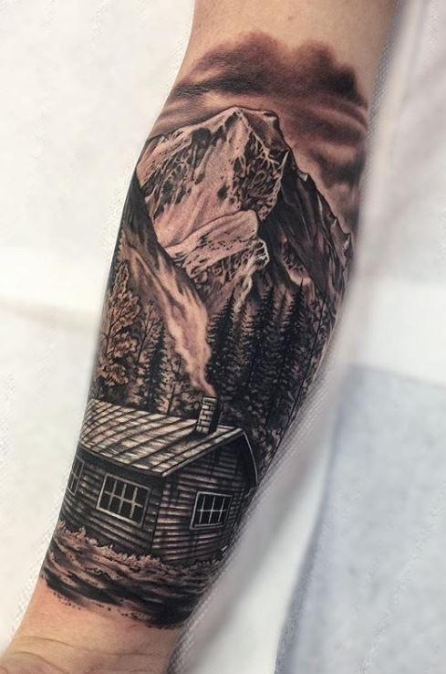 Best Tattoo Artist In Raleigh Nc Tattoos Portfolio Tattooed And Deployed Black And Grey Tattoos Tattoos Cabin Tattoo