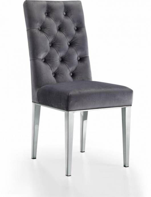 Meridian Furniture 732 Juno Grey Velvet Chrome Legs Dining Chair