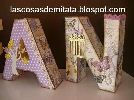 Letras de cart n decoradas de poca y b squeda for Letras de corcho decoradas