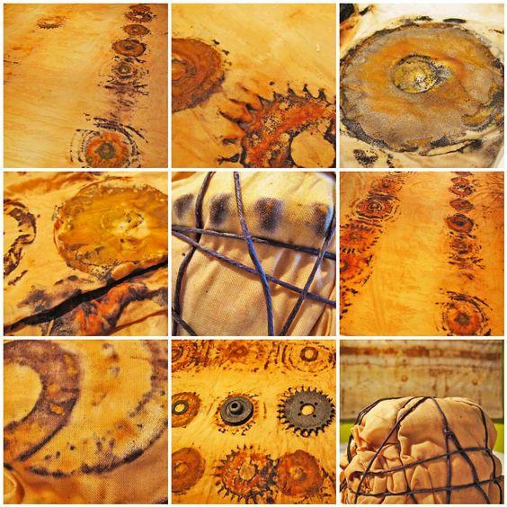 Tea, Vinegar, and a little rust... cloth effects