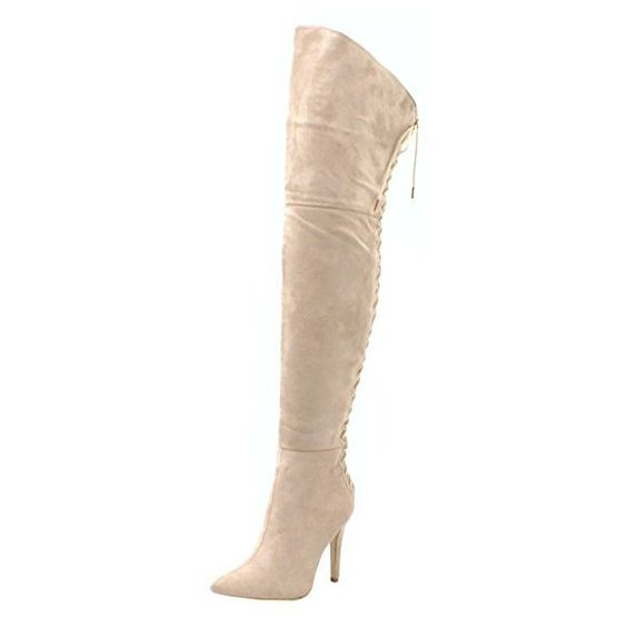 Womens Ladies Faux Suede Over The Knee High Stiletto Heel Lace Up Back... ($31) ❤ liked on Polyvore featuring shoes, boots, lace up stiletto boots, back zip boots, heels stilettos, stiletto boots and laced boots