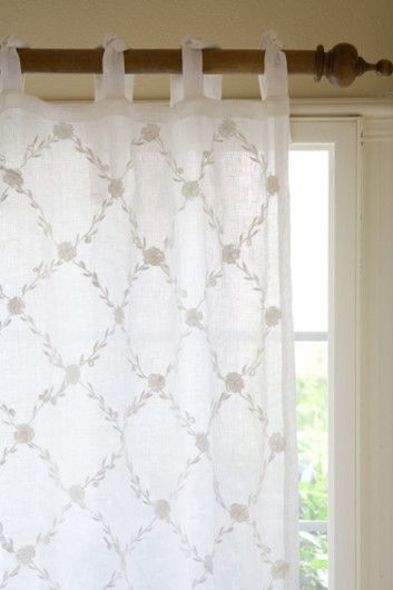 Trellis Sheer Panel - Embroidered Drapes, White Linen Curtains ...
