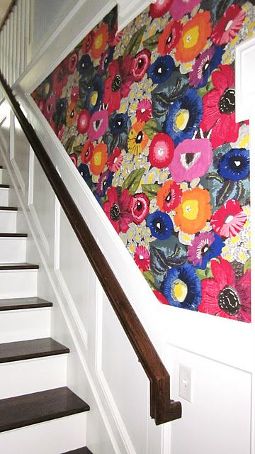 I like the two-tone stairs, not the wallpaper really.   Blazing Poppies Wallpaper from Anthropologie: