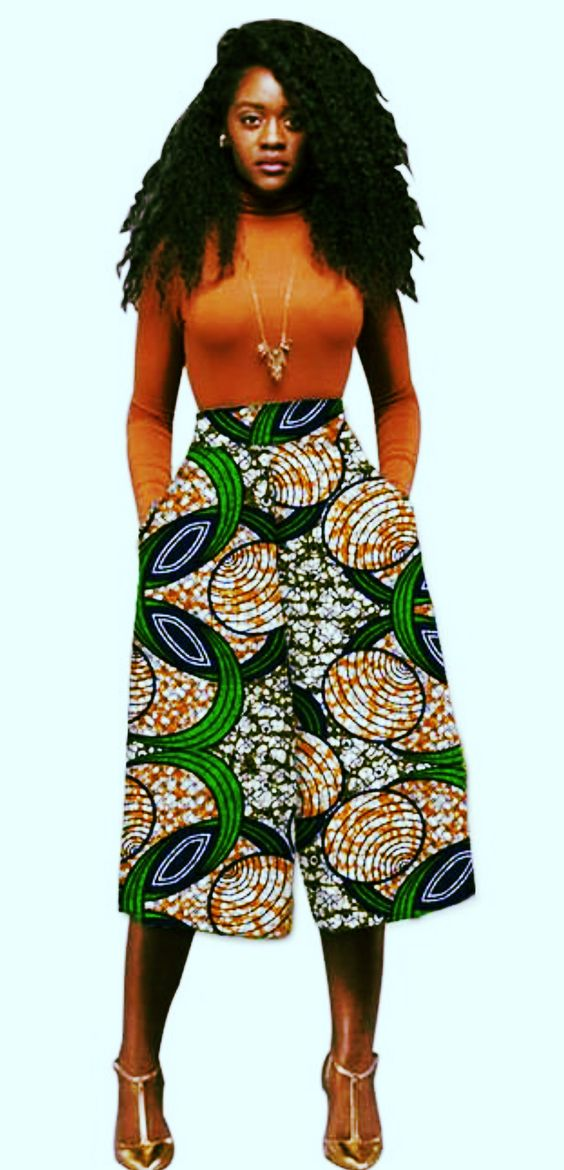 Carefully selected custom designed African Ankara print Culottes (wide leg pants) made with 100% cotton Ankara fabric. It is designed to give elegance and style and can be worn for any occasion. Product Detail Made from 100% cotton Ankara Fabric Fit and Style Product Shape: Regular fitted Pocket: Yes Inner Lining: No Care Instructions Recommended for Hand washing and Dry clean only. Style: Fashion Closure Type: Zipper Fly Length: Calf-Length Pants Fit Type: Loose Material: Polyester,Cotton Fabric Type: Batik Waist Type: Mid Pant Style: Wide Leg Pants