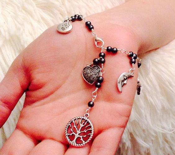 Hematite Tree Of Life Charm bracelet by JennyRocksJewelry on Etsy