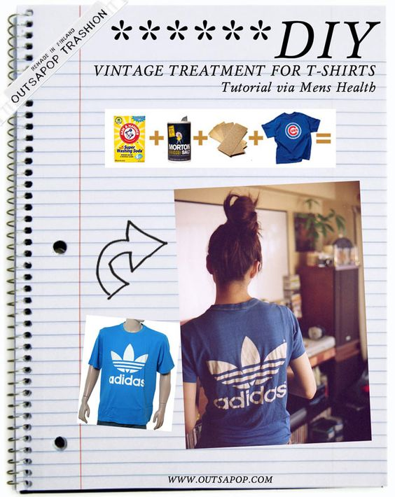 DIY vintage t-shirt treatment.: Diy Vintage Tshirts, Vintage Tees, Vintage T Shirts, Coffee Tshirt Fashion, Salt Sandpaper, Craft Ideas, Vintage Shirts