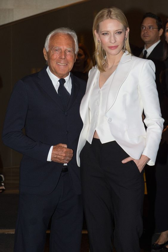 Cate Blanchett with Armani at a cocktail celebrating the launch of Sí. [Photo by Davide Maestri]